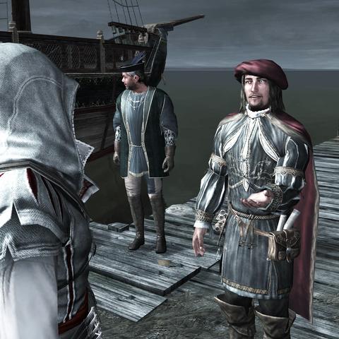 Leonardo remerciant Ezio pour l'avoir sauvé