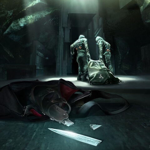 Abstergo employees retrieve Desmond's corpse