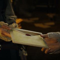 Élise remettant la missive à Arno