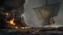 DTAE Ship firing fire arrows - Concept Art
