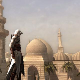 阿泰尔站在清真寺前