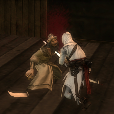 Altaïr assassinant le <b>capitaine</b>