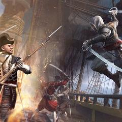 Edward valt een vijandig schip aan