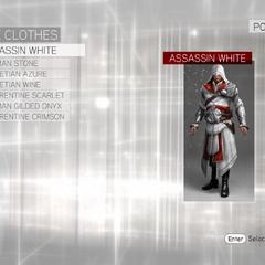 The customization menu for Ezio's Roman robes