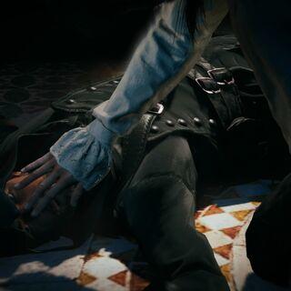Arno fermant les yeux du meurtrier de de la Serre