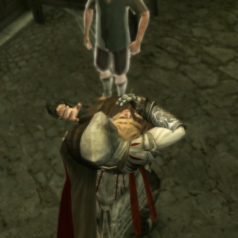 Ezio assassinant le chef de guilde