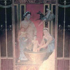 墓室北墙壁画,描绘了正在接受洗礼的婴儿亚历山大