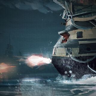 船只战斗的美术概念图