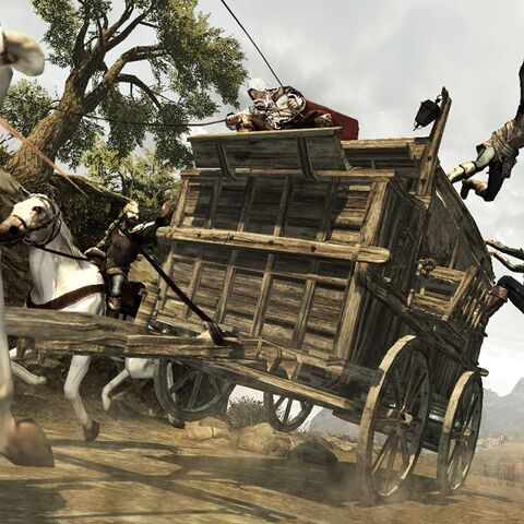 Ezio et Leonardo fuyant les gardes Borgia