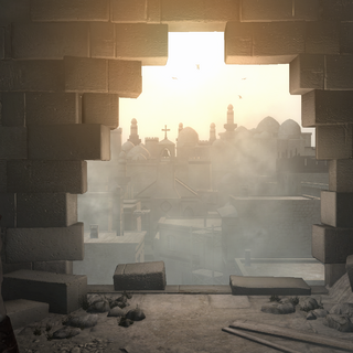 Altaïr looking out over the city from Solomon's Temple
