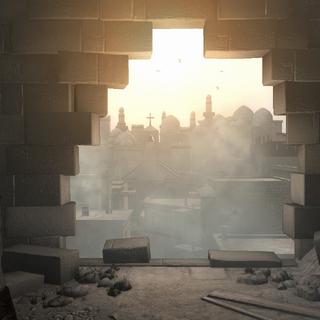 阿泰尔从所罗门神殿内眺望这座城市