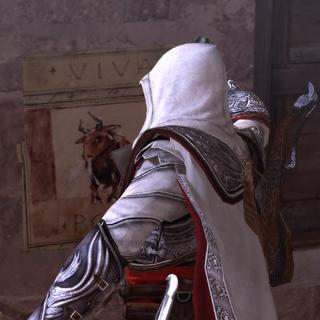 Ezio verwijdert een van de propagandaposters.