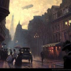 美好时代的街道的概念艺术