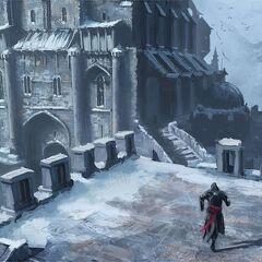 埃齐奥穿过堡垒的城垛