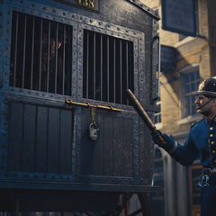 Nigel retenu prisonnier dans une calèche de police.
