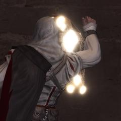 Ezio enlevant un Avis de Recherche