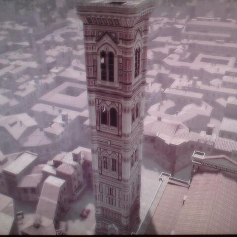 圣母百花大教堂的穹顶上看到的乔托钟楼