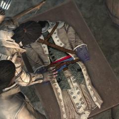 阿基里斯向康纳展示一件旧刺客长袍