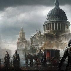 圣保罗大教堂街景的概念图
