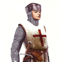 Concept art of Maria in Crusader armor