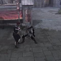 Ezio donnant une leçon au garde