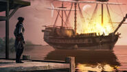 Aveline distrugge nave spagnola La Balize