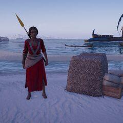 密里涅站在纳克索斯岛的海滩上