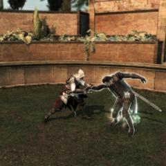 Ezio oefent het ontwapenen.
