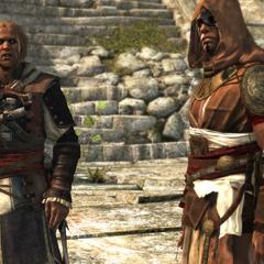 愛德華和阿·塔拜在神廟的廣場上