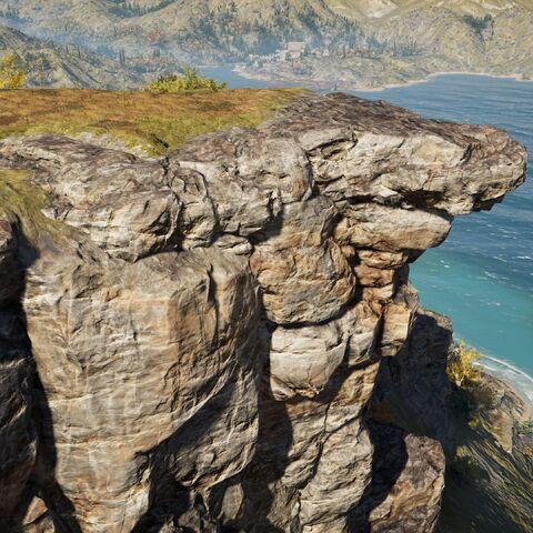 马其顿狮站在山崖上