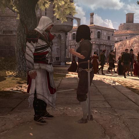 Ezio recrutant une femme à sa cause