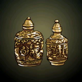 双喜临门 - 这两瓶手制的中式鼻烟壶用上最优美的珊瑚、青金石和绿松石钉珠。