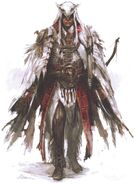 Concept art di Connor in vesti da Assassino mohawk