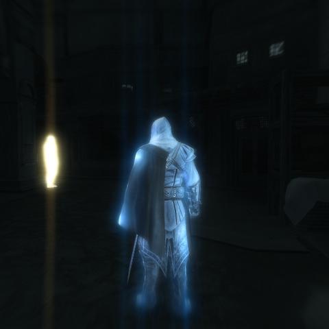 Ezio localisant le voleur grâce à sa Vision d'aigle