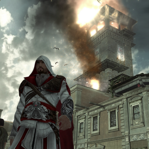 Ezio Auditore walking away from a Borgia tower