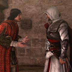 Copernicus bespreekt zijn situatie met Ezio.