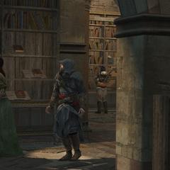 埃齊奧和索菲亞在據點的圖書館
