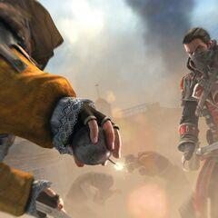 谢伊与使用烟雾弹的刺客决斗