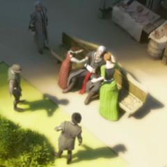Flavia and Sofia discovering Ezio's dead body.