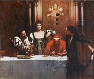 Un verre de vin avec le Borgia par John Collier