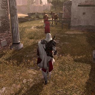 Ezio prenant le cardinal en filature