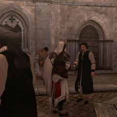 Ezio remettant la lettre à l'érudit