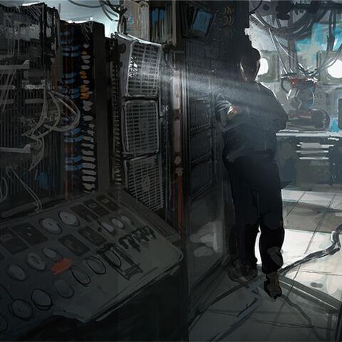 Gavin à l'intérieur du navire