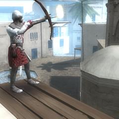 圣殿骑士弓箭手向教堂射击