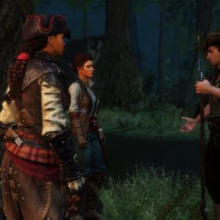 埃莉斯与霍普敦交谈,身边是艾弗琳和乔治
