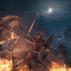 Bayek affrontant des troupes romaines à cheval