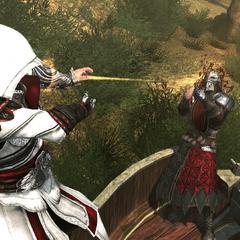 Ezio ontdoet zich van de schutter.