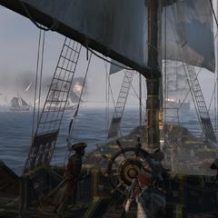 大帆船向范恩的舰队开火