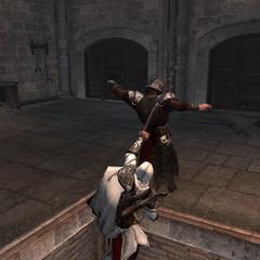 Ezio se frayant un chemin à travers le château