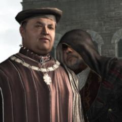 Un homme mystérieux murmurant à l'oreille d'Uberto Alberti